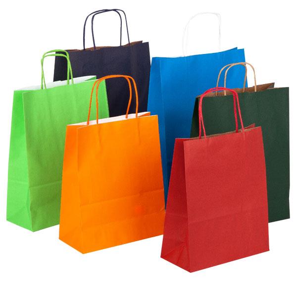Shopper in carta 100 gr. colorata con cordino in tinta